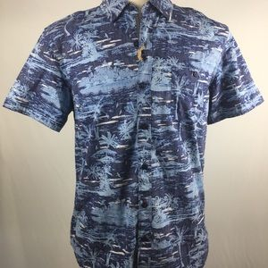 ✂️$29 MBX Original Denim Hawaiian shirt medium